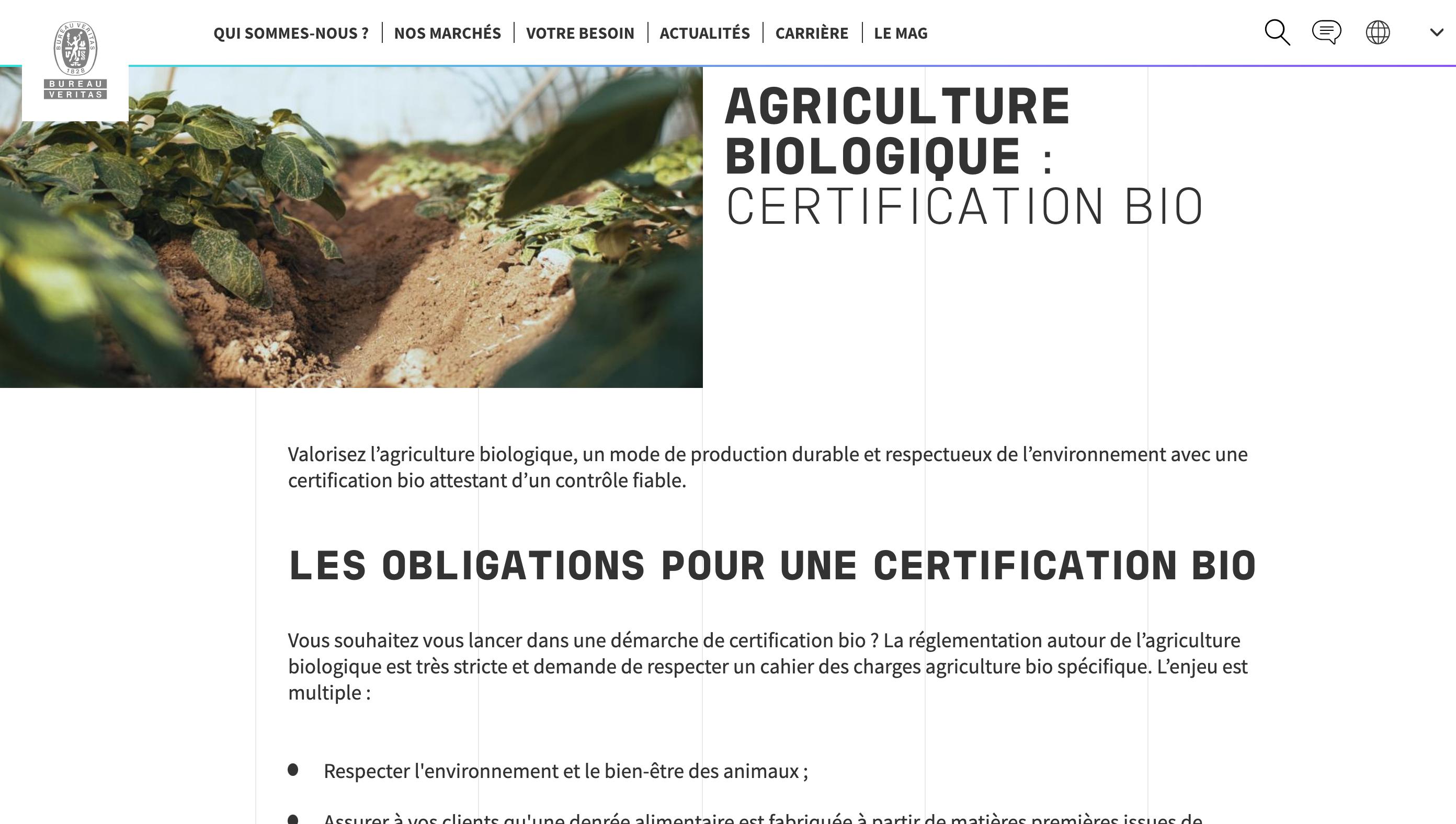 Extrait du référencement naturel de la page sur l'agriculture biologique du site de Bureau Veritas par Digilia
