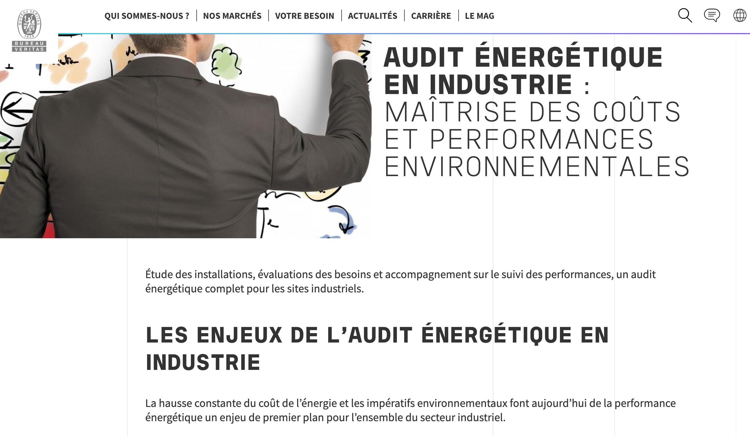 Extrait du SEO pour l'audit énergétique du site de Bureau Veritas par Digilia