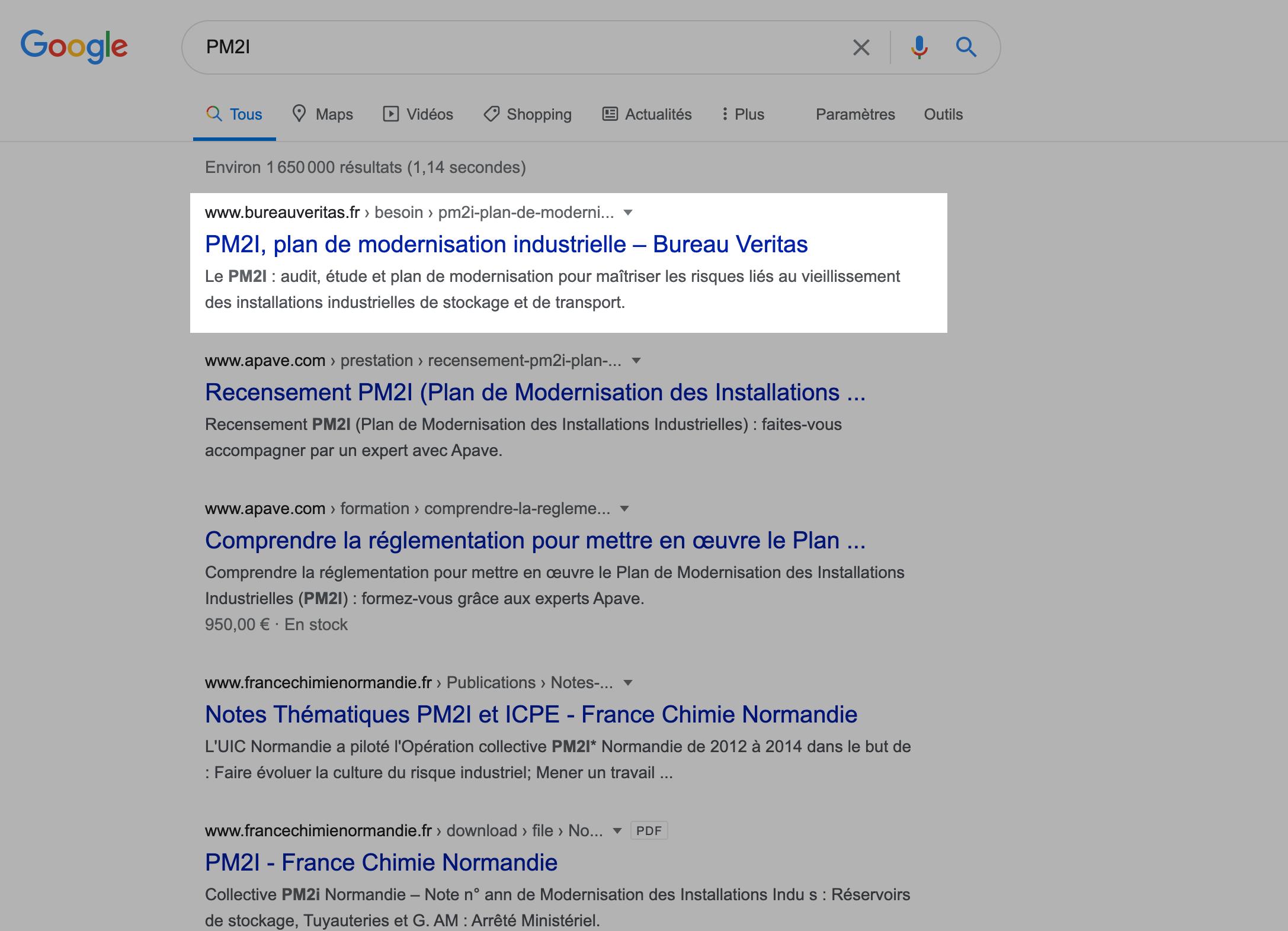 Remontée dans les résultats de recherches pour le SEO de la page optimisée sur la modernisation du site de Bureau Veritas par Digilia