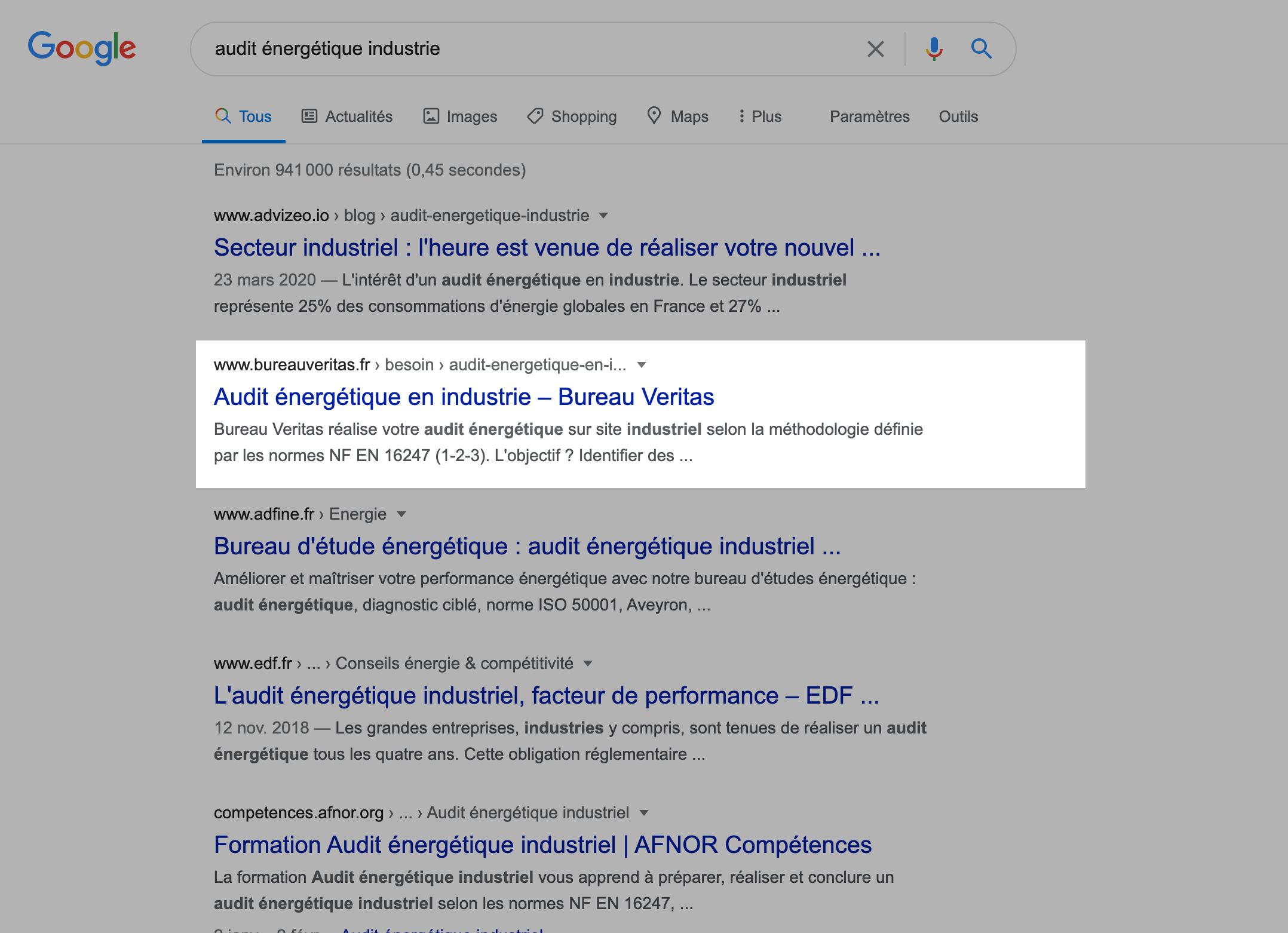 Résultats Google pour la page sur l'audit énergétique du site de Bureau Veritas par Digilia