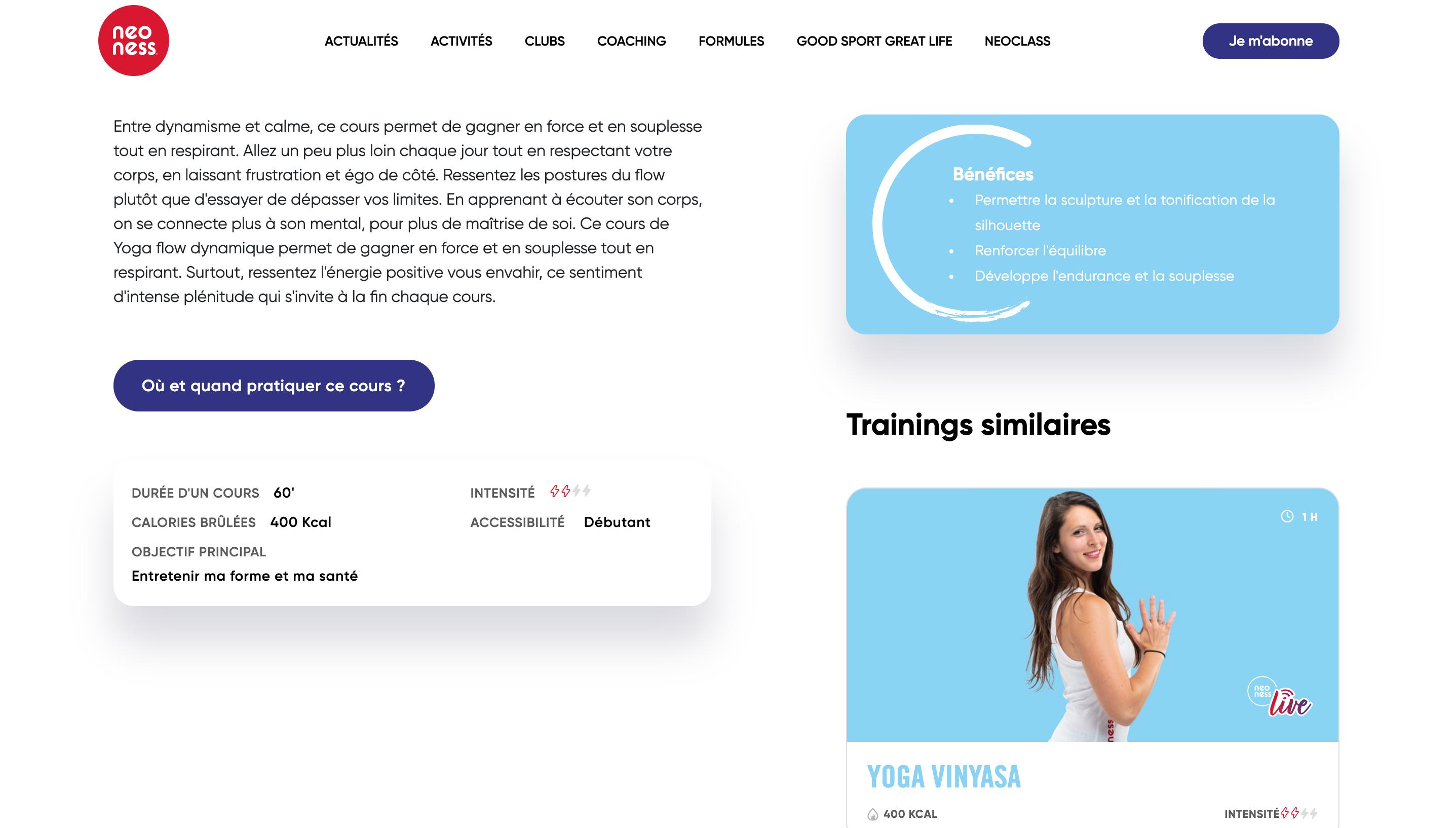 Rédaction web des cours de sport pour le site et l'application Neoness by Digilia