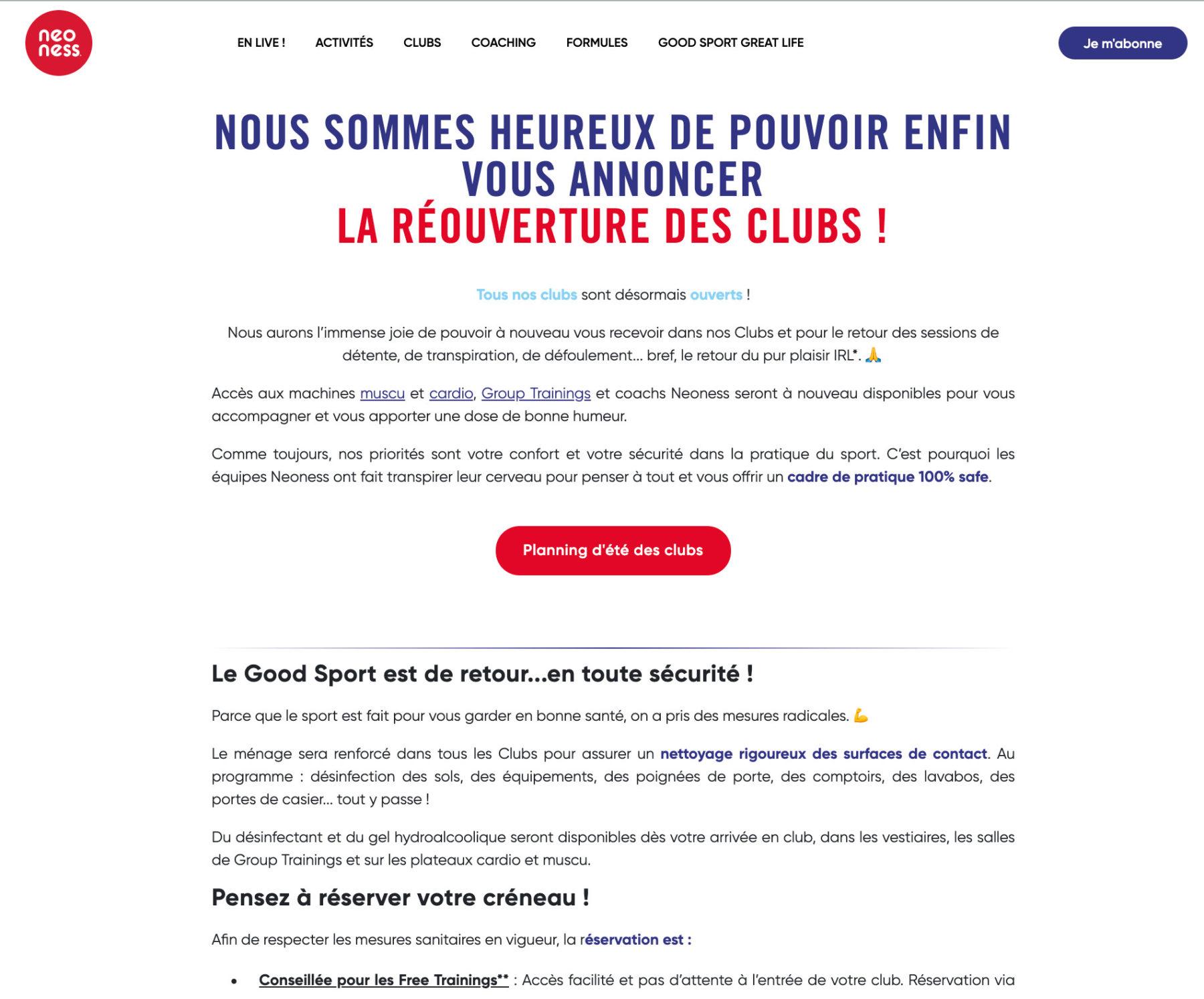 Rédaction d'une page web pour la réouverture des clubs Neoness by Digilia